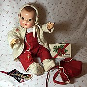 """AWESOME Christmas Poinsettia Sweater / Overall SET for 20"""" Dy-Dee Lou"""