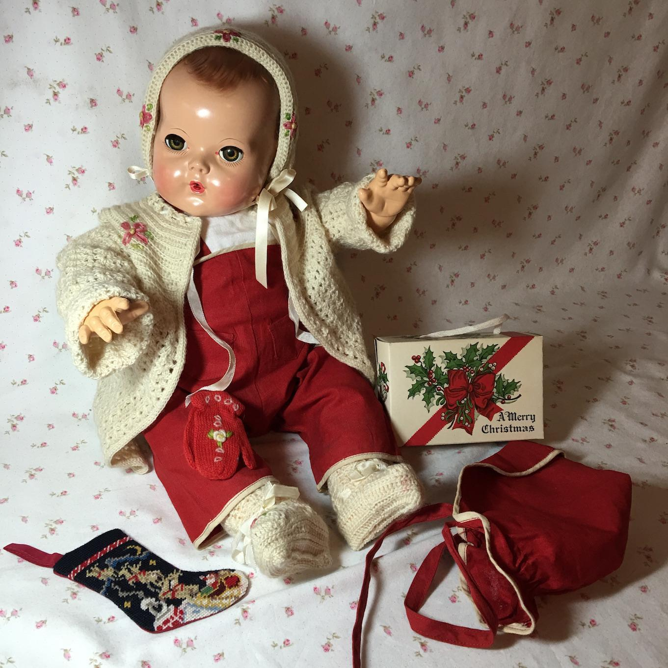 "AWESOME Christmas Poinsettia Sweater / Overall SET for 20"" Dy-Dee Lou"