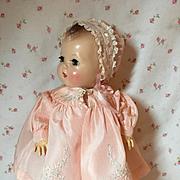 "Exquisite 1940's Silk Taffeta 11"" Dy-Dee Coat and Bonnet Set"
