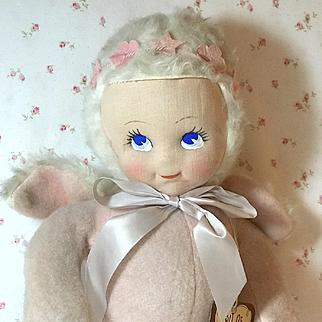 Vintage 1940's BIT O'HEAVEN Stuffed Angel Doll w/ Hang Tag