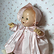 Effanbee Dy-Dee Jane Mold 1 FACTORY ORIGINAL Silk Coat and Bonnet - Baby Pink