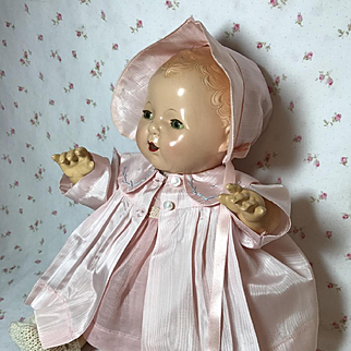 Effanbee Dy-Dee Jane Mold 1 FACTORY ORIGINAL Silk Coat and Bonnet - Baby Pink
