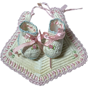 RARE and Adorable FAO Schwarz Embroidered Booties and Bib