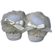 "MINT * Embroidered 'Cinderella' Slippers for 15"" Effanbee Dy-Dee"