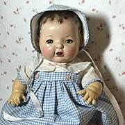 "Vintage 1930's Effanbee Factory Original 15"" Dy-Dee Blue Gingham Dress Set"