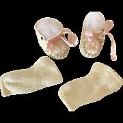 "RARE * rare * PRISTINE Vintage 1930's Dy-Dee Ette 11"" Oilcloth Shoes w/ Pom Pom"