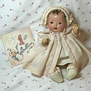 """Vintage Dy-Dee Ette 11"""" SILK Coat & Bonnet"""
