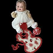 "Effanbee Dy-Dee 15"" Classic WHITE Layette Dress & Valentine Apron"