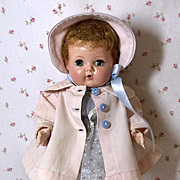 """Pink Twilll Coat and Bonnet Set for 11"""" to 12"""" Tiny Tears Baby"""