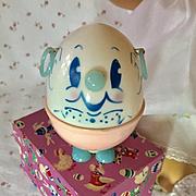 Vintage 1940's Dy-Dee's Easter Humpty Dumpty Celluloid PIGGY BANK