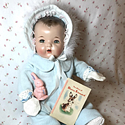 """Vintage Effanbee 20"""" Dy-Dee Doll Lou Eiderdown Snow Suit -- Complete Set"""