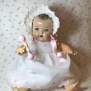 "Vintage Effanbee Dy-Dee Doll Lou Organdy White Dress for your 20"" Baby -- Socks Bonnet & Rattle"