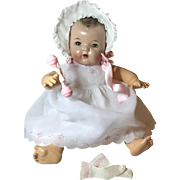 "Vintage Effanbee Dy-Dee Doll Lou Organdy White Dress for your 20"" Baby -- Socks Bonnet & Rattle"