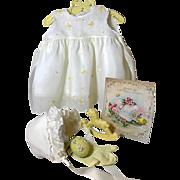 "Vintage Effanbee Dy-Dee Doll Lou Organdy Yellow Dress for your 20"" Baby -- Socks Slip Bonnet & Rattle"