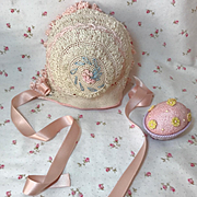 Fabulous Vintage 100% Silk and Embroidered Effanbee Dy-Dee Lou Easter Bonnet -- French & German Dolls