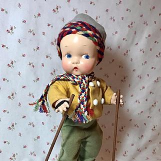 "Harriet Flanders 1937 Compo 12"" Little Cherub Baby BOY -- All Original in SKIER Outfit"