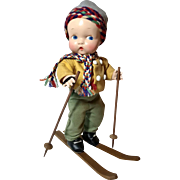 """Harriet Flanders 1937 Compo 12"""" Little Cherub Baby BOY -- All Original in SKIER Outfit - Red Tag Sale Item"""