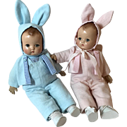 """1930's Vintage 10"""" Effanbee Patsy Babyette TWINS -- Boy and Girl in Matching BUNNY Outfits"""