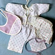 "Vintage 1950's American Character 11"" - 12"" Tiny Tears Polka Dot Pajama Set COMPLETE -- White"