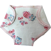 """Vintage 1950's Original Factory 11"""" Tiny Tears Flannel Diaper -- KITTENS and Rattles #1"""