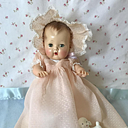 "Vintage 1950's Original 13.5"" Tiny Tears PINK Dotted Swiss Baptismal / CHRISTENING Gown Set"