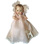 """Vintage 1950's Original 13.5"""" Tiny Tears PINK Dotted Swiss Baptismal / CHRISTENING Gown Set"""