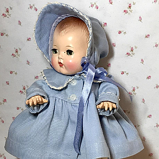 "Vintage 11"" Dy-Dee Ellen Classic Blue Twill Coat and Bonnet Set"