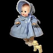 """Vintage 11"""" Dy-Dee Ellen Classic Blue Twill Coat and Bonnet Set"""