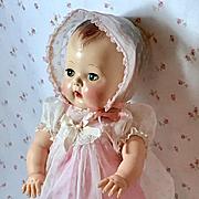 "13.5"" Tiny Tears 1950's Flocked Nylon Organdy Dress Slip Bonnet"