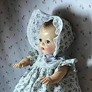 "Flour Sack Dress and Bonnet for 13.5"" Tiny Tears Baby"
