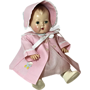 "Pink Cotton Twill Coat and Bonnet 'Made in Japan' 13.5"" to 15"" Tiny Tears"