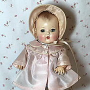 "11.5"" Tiny Tears Pink Silk Taffeta Coat and Bonnet Set"