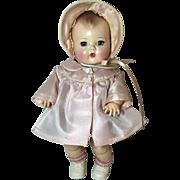 "11.5"" Tiny Tears Pink Silk Taffeta Coat and Bonnet Set"