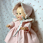 "13.5"" Tiny Tears Coat and Bonnet for Spring -- Pretty in Pink"