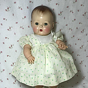 "13.5"" Tiny Tears 1950's NOS Cotton Dimity School Dress -- YELLOW FLOWERS"