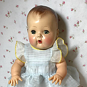 "Darling 13.5"" Tiny Tears Blue Organdy Pinafore"