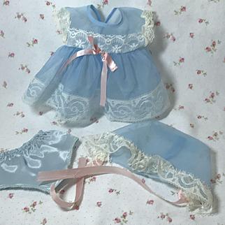 "11"" Tiny Tears Blue Nylon Organdy Dress Set COMPLETE"