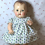 """13.5"""" Vintage Tiny Tears Cotton BABY style dress -- Blueberries"""