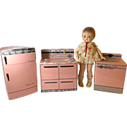 Vintage Wolverine Doll-Sized KITCHEN Set -- Sink/Dishwasher, Refrigerator, Stove, Washer/Dryer