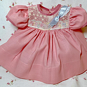"""MINT Vintage Pink Cotton Party Dress for 13.5"""" Tiny Tears with DollSox"""