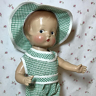 1930's Effanbee Patsy Doll Green Gingham Play Outfit