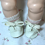 """MINT 13.5"""" Tiny Tears 1950's White Oilcloth Shoes"""
