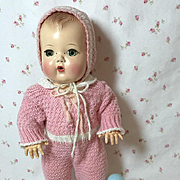 "SUPER RARE 1950's Pink Knit SNOW SUIT Snowsuit w/ Bonnet Set for 11.5"" Tiny Tears"