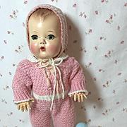 """SUPER RARE 1950's Pink Knit SNOW SUIT Snowsuit w/ Bonnet Set for 11.5"""" Tiny Tears"""