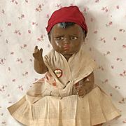"""Rare * RARE 1930's Effanbee 15"""" Vintage Composition BLACK Americana GRUMPY Doll"""