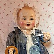 "Rare * RARE * 1920's Century Doll Co 22"" CHUCKLES All Original Near MINT"