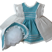 "13.5"" Tiny Tears / Betsy Betsy White/Blue Organdy Dress and Bonnet Set #6"