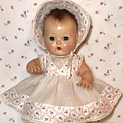 "13.5"" Tiny Tears / Betsy Betsy White Organdy w/Flowers Dress and Bonnet Set #9"