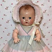 "13.5"" Tiny Tears / Betsy Wetsy Blue / Pink Organdy Dress and Bonnet Set #13"