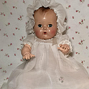 """Vintage 1940's / 1950's 13.5"""" Tiny Tears / Dy-Dee Baptismal / CHRISTENING Gown Set w/ Embroidery"""